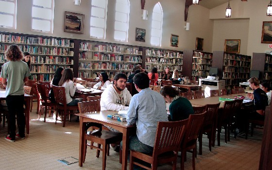 Library Reading Room with Students